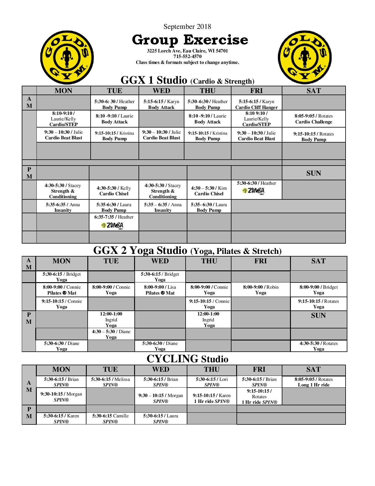 gold's gym eau claire | group exercise classes