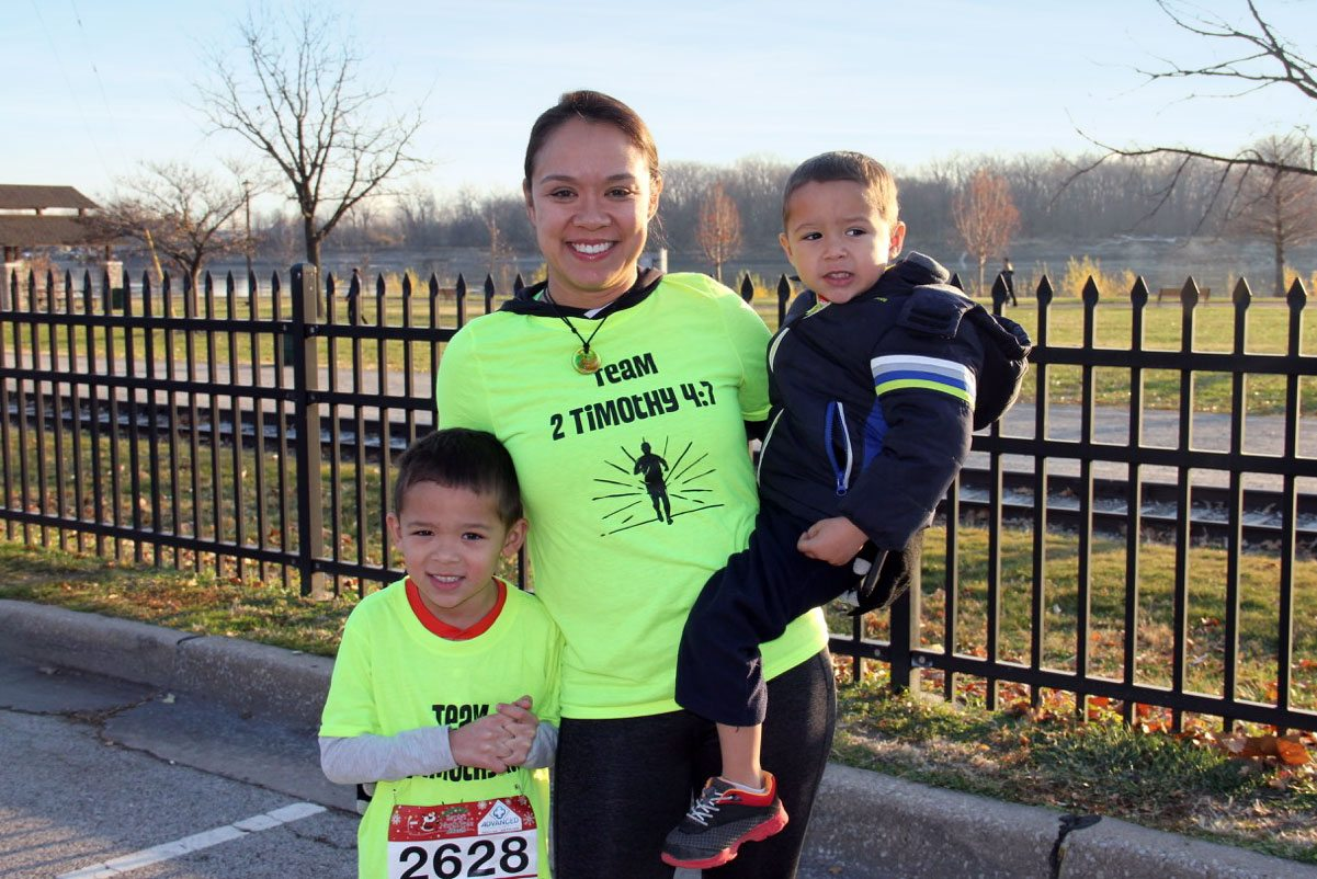 Ellie Carter, who now looks for ways to include her children in her workouts, ran a .3-mile race with her 5-year-old son.