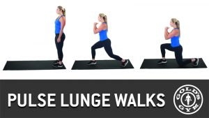 Pulse lunge walks for legs and glutes workout