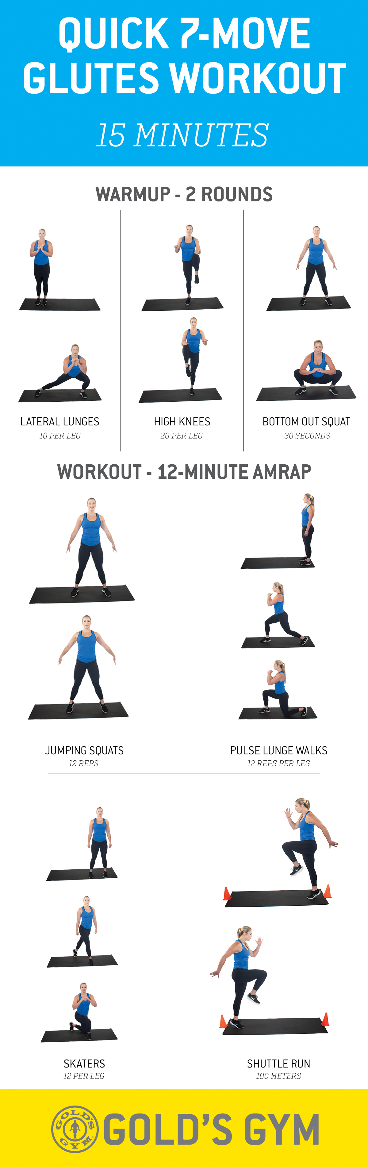 Legs and glute workout with lateral lunges, high knees, bottom out squat, jumping squats, pulse lunge walks, skaters and shuttle runs.